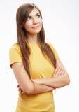 Jonge toevallige vrouwenstijl over witte achtergrond royalty-vrije stock foto