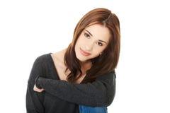 Jonge toevallige vrouwenstijl Zij is bang royalty-vrije stock foto