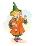 Jonge tovenaar die een toverstokje houden Royalty-vrije Stock Foto