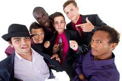 Jonge trendy interracial zakenlieden stock foto's
