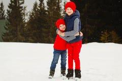Jonge twee gelukkige jonge geitjes die in openlucht in de winterpark spelen Royalty-vrije Stock Afbeelding