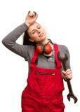 Jonge uitgeputte arbeider met moersleutel Royalty-vrije Stock Afbeelding