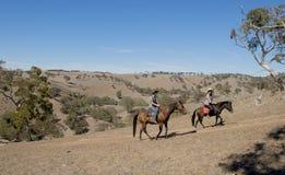 Jonge vader als paardinstructeur van jonge tienerdochter die weinig poney berijden die veedrijfsterhoed dragen stock afbeeldingen