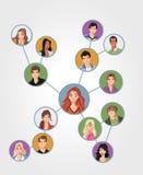 Jonge verbonden mensen vector illustratie