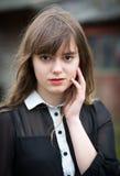 Jonge Victoriaanse Vrouw in Zwarte stock afbeeldingen