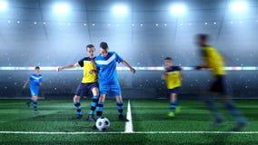 Jonge voetballers in actie betreffende het 3D voetbalstadion stock foto