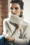 Jonge volwassen sensualiteit donkerbruine vrouw in grijze sweater Stock Afbeeldingen