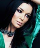 Jonge vrij donkerbruine geklede vrouwenmanier, heldere make-up, eleg Royalty-vrije Stock Foto's