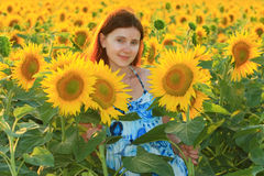 Jonge vrij Kaukasische vrouw op het zonnebloemgebied Stock Foto
