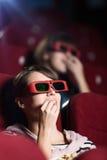 Jonge vrouw in 3D film Royalty-vrije Stock Afbeelding