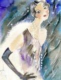 Jonge vrouw in avondjurk en de sneeuw Royalty-vrije Stock Afbeeldingen