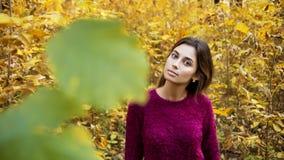 Jonge vrouw bij daling stock afbeelding