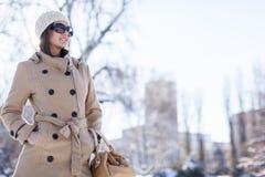 Jonge vrouw bij de winter Stock Afbeelding