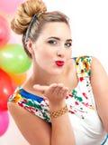 Jonge vrouw bij een partij Royalty-vrije Stock Afbeeldingen