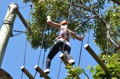 Jonge vrouw bij treetop avontuur het beklimmen Royalty-vrije Stock Fotografie
