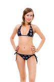 Jonge vrouw in bikini fullface royalty-vrije stock afbeelding