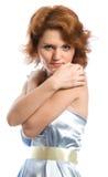 Jonge vrouw in blauw Stock Foto