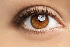 Jonge vrouw, close-up van oog royalty-vrije stock afbeeldingen