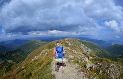 Jonge vrouw in de bergen Royalty-vrije Stock Afbeeldingen