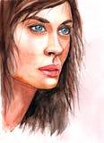 Jonge Vrouw 15 De illustratie van de waterverf Stock Afbeeldingen