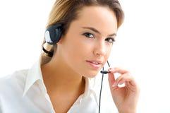 Jonge vrouw in de klantendienst Royalty-vrije Stock Afbeeldingen