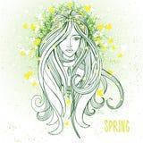 Jonge vrouw in de lentestemming als symbool van het wekken van aard Stock Foto