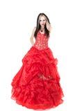 Jonge vrouw in de rode kleding royalty-vrije stock foto