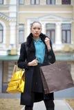 Jonge vrouw in de winterdag stock foto's