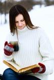 Jonge vrouw in de winterpark Stock Afbeeldingen