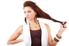 Jonge vrouw dichtbij zenuwinstorting. Stock Foto