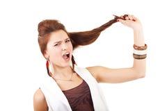 Jonge vrouw dichtbij zenuwinstorting. Stock Afbeeldingen