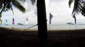 Jonge vrouw die als strandreinigingsmachine werken die draagstoelen, puin op tropisch zandig strand harken stock videobeelden