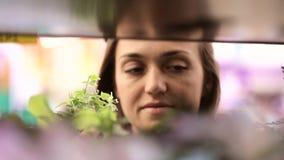 Jonge vrouw die bloemen in bloemensectie kiezen van supermarkt stock video