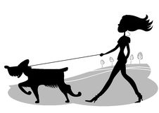 Jonge Vrouw die de hond lopen. Vector zwarte silhouett Stock Afbeelding