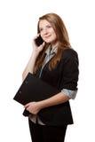 Jonge vrouw die de telefoon uitnodigt Royalty-vrije Stock Afbeelding