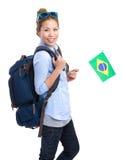 Jonge vrouw die een kleine vlag van Brazilië houden Stock Afbeelding