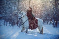 Jonge vrouw die een paard berijdt Royalty-vrije Stock Afbeelding