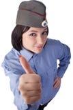 Jonge vrouw die een Russische eenvormige politie draagt Royalty-vrije Stock Fotografie