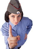 Jonge vrouw die een Russische eenvormige politie draagt Stock Fotografie