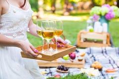 Jonge vrouw die een schotel met glazen witte wijn houden bij picknicksom Stock Fotografie