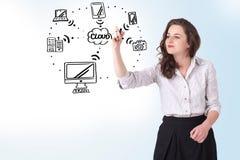 Jonge vrouw die een wolk trekken die op whiteboard gegevens verwerken Royalty-vrije Stock Foto's
