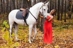 Jonge vrouw die haar paard behandelt Royalty-vrije Stock Fotografie
