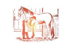 Jonge vrouw die hengst hoefijzer, paardenzorg, vrouwelijke landbouwer in schort, rasechte merrie in stal controleren stock illustratie