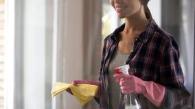 Jonge vrouw die klaar voor het algemene schoonmaken, houdend nevel en gele deken worden stock foto's
