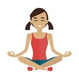 Jonge Vrouw die Meditatie in Lotus Pose maken Stock Foto's