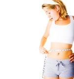 Jonge Vrouw die meet op Wit Stock Afbeeldingen