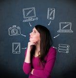 Jonge vrouw die met getrokken gadgets denken rond haar hoofd Royalty-vrije Stock Fotografie