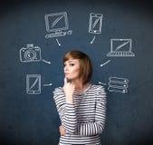 Jonge vrouw die met getrokken gadgets denken rond haar hoofd Stock Afbeeldingen