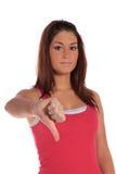 Jonge vrouw die negatief gebaar maakt stock afbeeldingen
