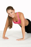 Jonge Vrouw die Omgekeerde Opdrukoefening doet Royalty-vrije Stock Foto